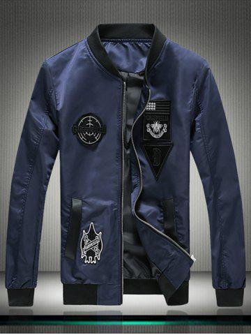 Outfits Stand Collar Embroidered Appliques Zip Up Jacket - 3XL BLUE Mobile
