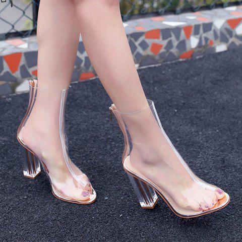 Outfit Clear Heel Zipper Peep Toe Shoes TRANSPARENT 37