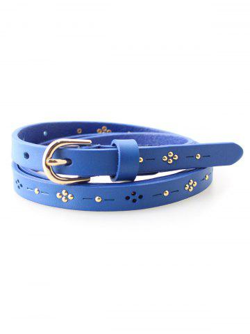 Affordable Leather Skinny Studded Waist Belt - LIGHT BLUE  Mobile