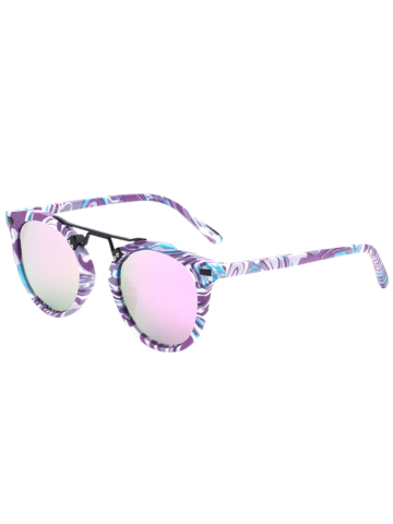 Mirrored Sunglasses with Marble Pattern - Purple