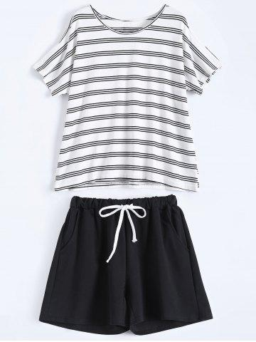 New Plus Size Striped T-Shirt With Shorts - XL BLACK Mobile