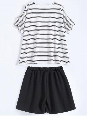 Fashion Plus Size Striped T-Shirt With Shorts - XL BLACK Mobile
