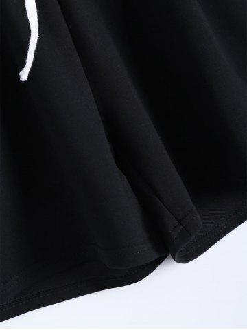 Best Plus Size Striped T-Shirt With Shorts - 4XL BLACK Mobile
