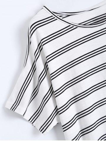Online Plus Size Striped T-Shirt With Shorts - 4XL BLACK Mobile