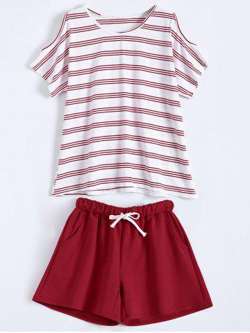 Online Plus Size Striped T-Shirt With Shorts - XL RED Mobile