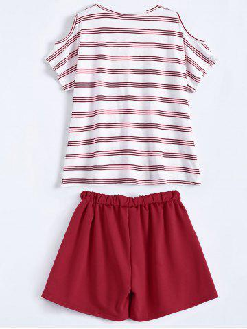 Outfits Plus Size Striped T-Shirt With Shorts - 3XL RED Mobile