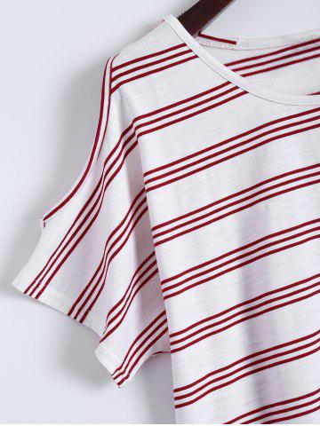 Hot Plus Size Striped T-Shirt With Shorts - 3XL RED Mobile