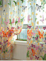Butterfly Print Voile Curtain For Balcony Bedroom - COLORFUL W54 INCH* L108 INCH