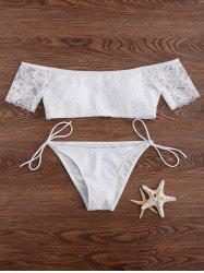 Lace Panel Off The Shoulder Tied Bikini