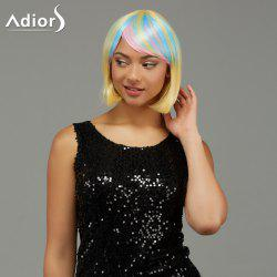 Adiors Short Side Bang Rainbow Gradient Straight Party Synthetic Wigs