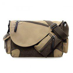 PU Leather Panel Messenger Bag