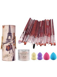 20 Pcs Pinceaux Holder Set + beauté Mélangeurs + BB Cream Puffs Air + Brush - Rouge