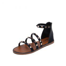 Faux Leather Metal Rivets Sandals