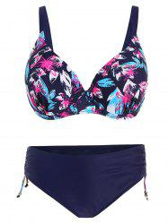 Push Up Print Plus Size Bikini - PURPLE 3XL