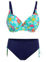 Push Up Print Plus Size Bikini