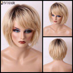 Siv Hair Short Bob Gradient Straight Side Bang Capless Human Hair Wig - GOLDEN BROWN WITH BLONDE