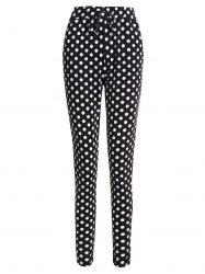 Drawstring Polka Dot Skinny Pants