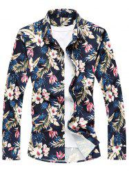 Casual Long Sleeve Flower Printed Shirt