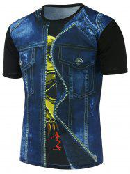 3D Faux Denim Jacket Printed Round Neck Tee