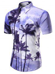 Hawaiian Coconut Palm Print Short Sleeve Shirt - PURPLE