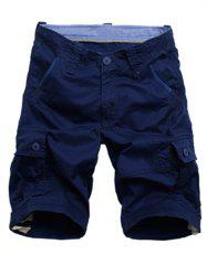 Zipper Fly Drawstring Design Cargo Shorts