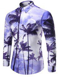 Coconut Palm Printed Shirt - Pourpre