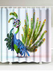 Waterproof Fabric Peacock Print Shower Curtain