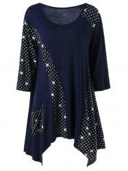 Single Pocket Polka Dot Asymmetrical T-Shirt