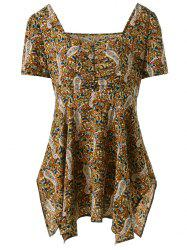 Paisley Square Neck Plus Size Tops