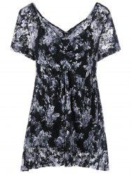 Plus Size Empire Waist Floral Blouse with Camisole
