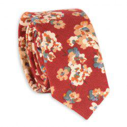 Retro Tiny Bouquet Printed Neck Tie - RED