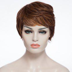 Fashion Fluffy Side Bang Brown Mixed Elegant Short Curly Synthetic Capless Wig For Women -