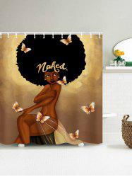 Fashion Hair Girl Have A Bath Shower Curtain - COFFEE