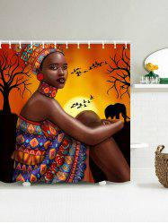 Mould Proof Shower Curtain with African Tribal Girl Print