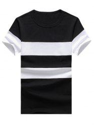 Color Block Stripe Panel Short Sleeve T-Shirt