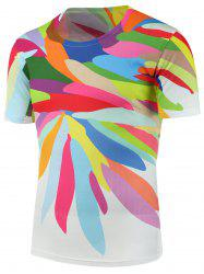 Colorful Paint Printed Crew Neck T-Shirt