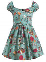 Floral Printed Sweetheart Neck Flare Dress