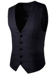 Simple boutonnage Faux Pocket Waistcoat -