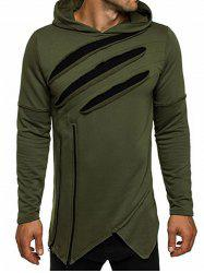 Zip Embellished Distressed Asymmetric Hoodie - ARMY GREEN