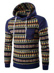 Pocket Design Tribal Print Hoodie