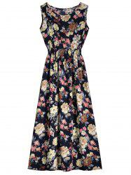 High Waist Sleeveless Floral Print Dress