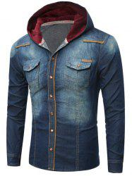 Pocket Design Hooded Denim Shirt
