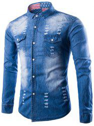 Distressed Denim Shirt with Chest Pocket