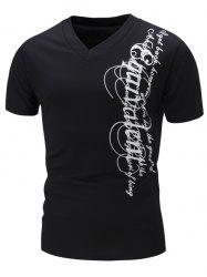 Graphic Print V Neck Short Sleeve Slimming T-Shirt - BLACK