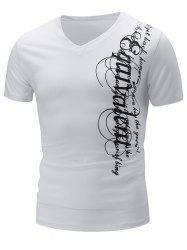 Graphic Print V Neck Short Sleeve Slimming T-Shirt