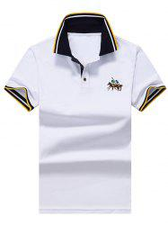 Stripe Trim Embroidered Polo Shirt