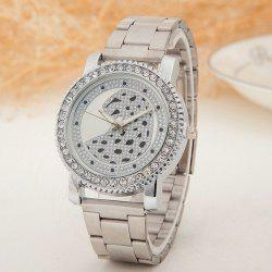 Rhinestone Stainless Steel Leopard Watch