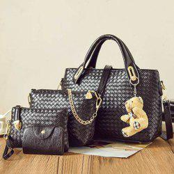 4 Pieces Textured PU Leather Handbag Set - BLACK