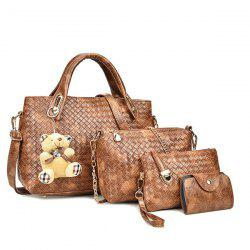 4 Pieces Textured PU Leather Handbag Set - BROWN