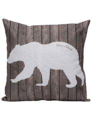 Polar Bear Wood Printed Pillow Case - BROWN